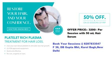 Exciting limited time offers on PRP hair loss treatment at Delhi clinic